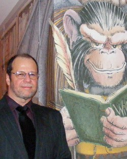 Scott Alberts with his Winged Monkey illustration