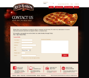 Red Baron Pizza website contact page.