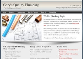 Gary's Quality Plumbing website.