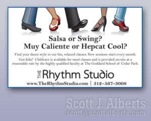 Rhythm Studio business card.
