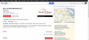 Google screenshot of Zero To Sixty Marketing LLC listing.